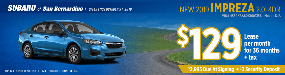2019 Impreza 2.0i 4-Door lease special at Subaru of San Bernardino