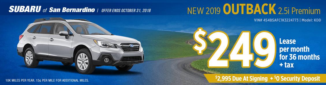 2019 Outback 2.5i Premium low payment lease special at Subaru of San Bernardino