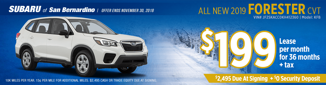 Lease a 2019 Subaru Forester CVT for a low monthly payment at Subaru of San Bernardino