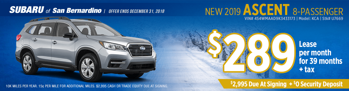 Lease a 2019 Subaru Ascent for a low monthly payment at Subaru of San Bernardino