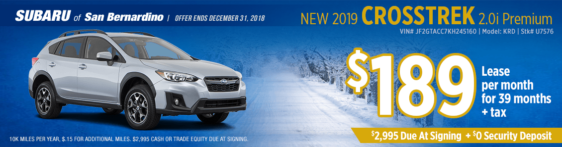 2019 Subaru Crosstrek 2.0i Premium lease special at Subaru of San Bernardino