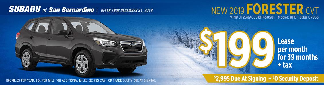 Save on your next 2019 Subaru Forester lease at Subaru of San Bernardino