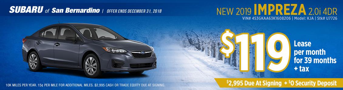 Lease a 2019 Subaru Impreza 2.0i 4-Door for a low monthly payment at Subaru of San Bernardino