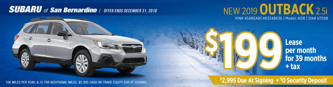 2019 Subaru Outback 2.5i low payment lease special at Subaru of San Bernardino