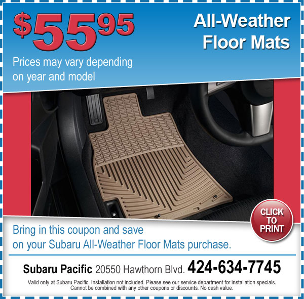 Subaru All-Weather Floor Mats Torrance, California
