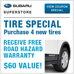Click to view our Genuine Subaru Name Brand Tires service special at Subaru Superstore of Surprise