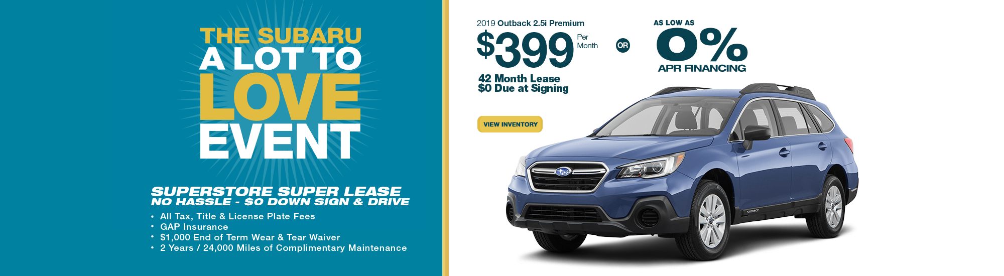 2019 Outback 2.5i Premium lease or low APR special at Subaru Superstore of Surprise