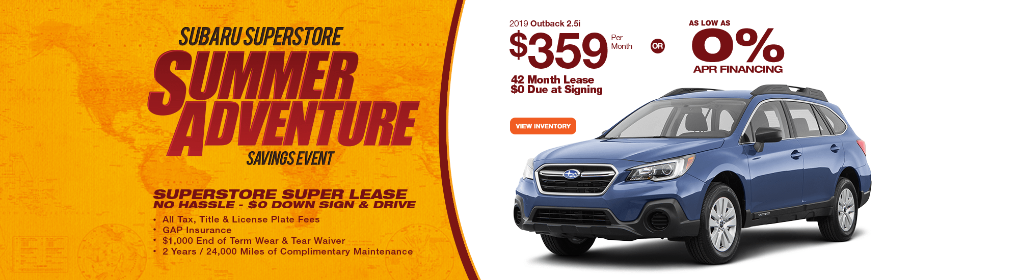 Save with our new leasing and financing special savings on 2019 Subaru Outback 2.5i near Surprise, AZ