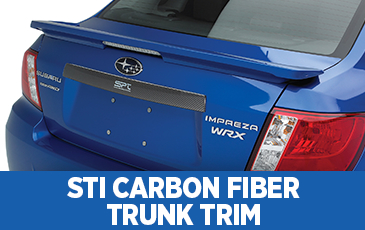 Click to view our Subaru STI carbon fiber trunk trim information serving Phoenix, AZ