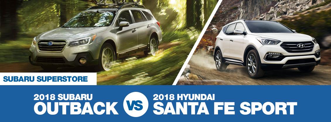 Subaru Santa Fe >> Compare 2018 Subaru Outback Vs Hyundai Santa Fe Sport