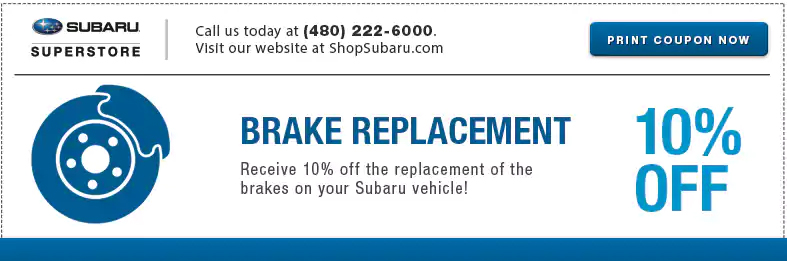 Save with this Subaru Brake Replacement service special at Subaru Superstore