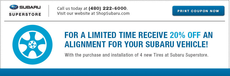 Save with this All Wheel Alignment service special at Subaru Superstore