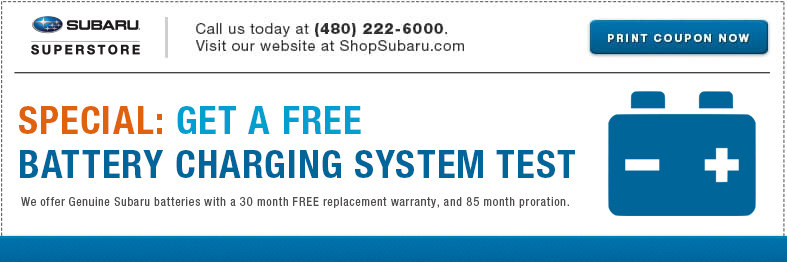 Save with this Free battery charging system test service special at Subaru Superstore