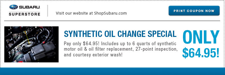 Save with this Synthetic Oil Change service special at Subaru Superstore