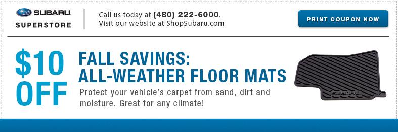 Subaru All Weather Floor Mats Parts Special Serving Mesa, AZ