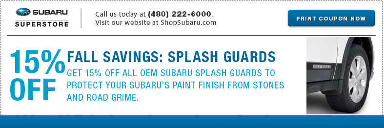 Save This Month with our Genuine Subaru Splash Guards parts special.
