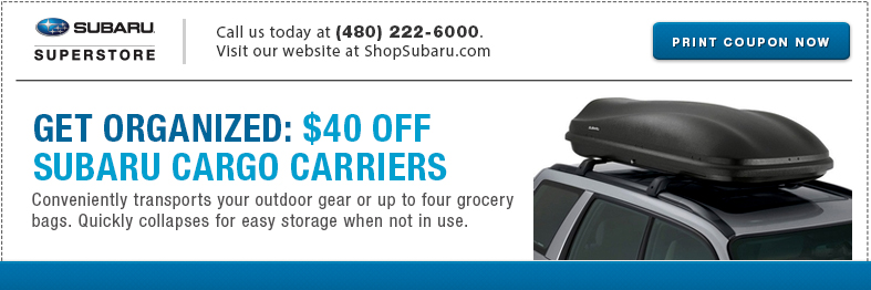Get special savings on cargo carrier at Subaru of Superstore of Chandler