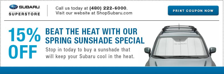 Save on sunshades from our parts department at Subaru Superstore in Chandler, AZ