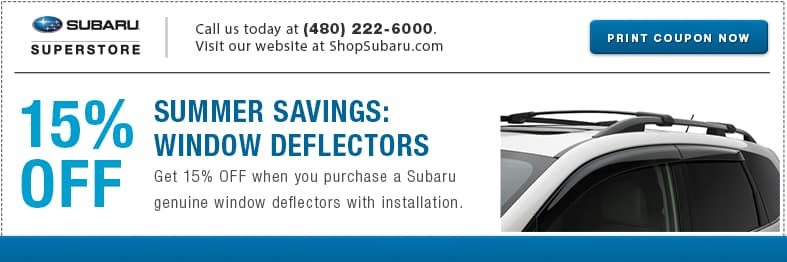 Get side window deflectors for a special price at Subaru of Superstore of Chandler