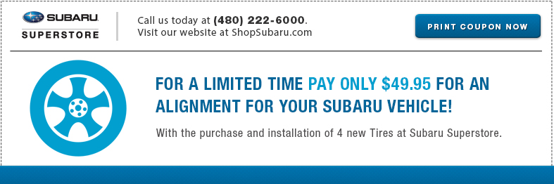 Save with this Genuine Subaru Wheel Alignment service special at Subaru Superstore