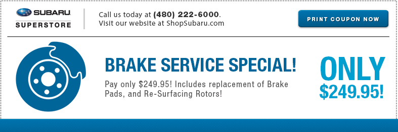 Save with this Genuine Subaru Brake Replacement service special at Subaru Superstore
