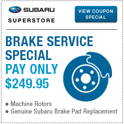 Click for our brake replacement service special at Subaru Superstore of Chandler