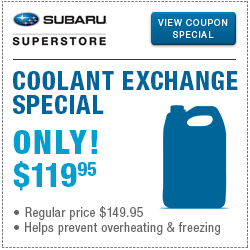Click to browse our coolant exchange service special at Subaru Superstore of Chandler