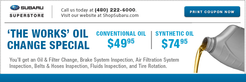 Oil Change Special >> Subaru Synthetic Oil Change Service Special Phoenix Az