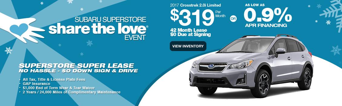 Finance or Lease a New 2017 Subaru Crosstrek near Phoenix, AZ during Subaru Superstore's Golden Savings Event