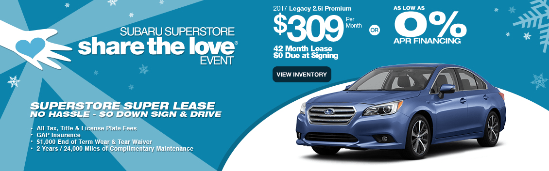 New 2017 Legacy 2.5i Premium Special Lease & Finance Savings