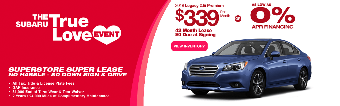 New 2018 Legacy 2.5i Premium Special Lease & Finance Savings