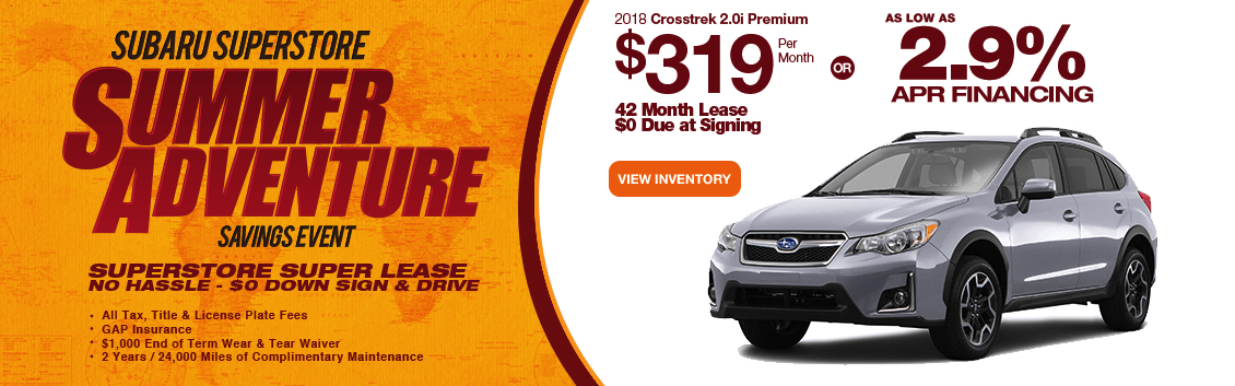 Finance or Lease a New 2018 Subaru Crosstrek near Phoenix, AZ during Subaru Superstore's Summer Adventure Savings Event