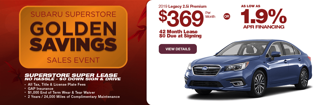 New 2019 Legacy 2.5i Premium Special Lease & Finance Savings at Subaru Superstore of Chandler