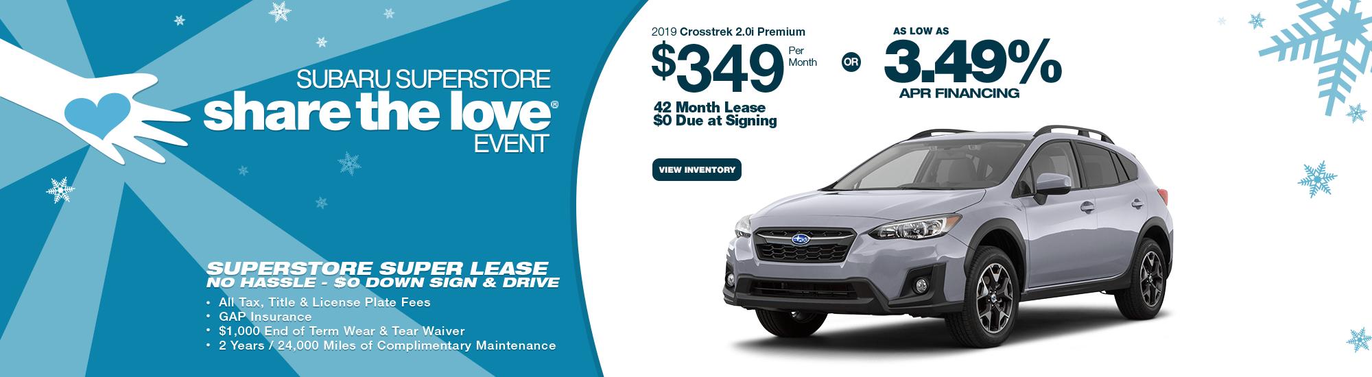 Finance or Lease or Finance a 2019 Subaru Crosstrek near Phoenix, AZ during Subaru Superstore's Golden Savings Sales Event