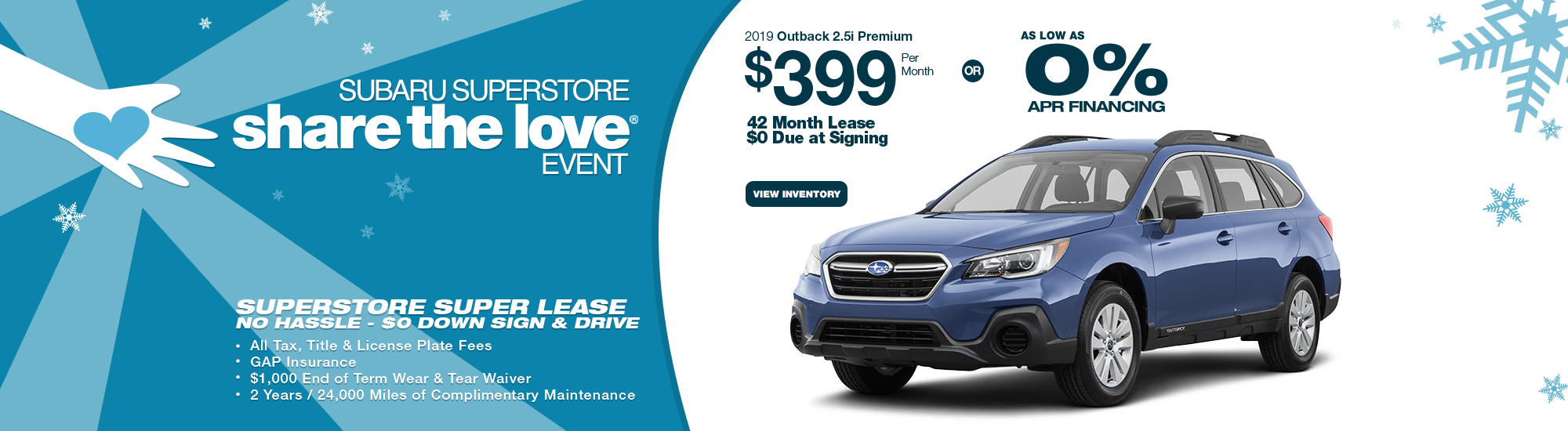 New 2019 Outback 2.5i Premium Special Lease & Finance Savings at Subaru Superstore of Chandler