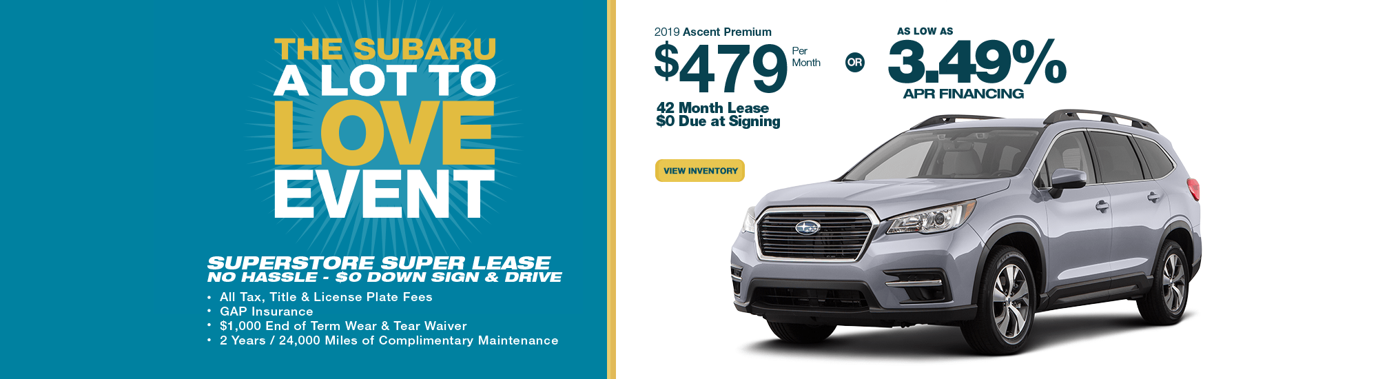 2019 Ascent Premium lease or low APR special at Subaru Superstore of Chandler