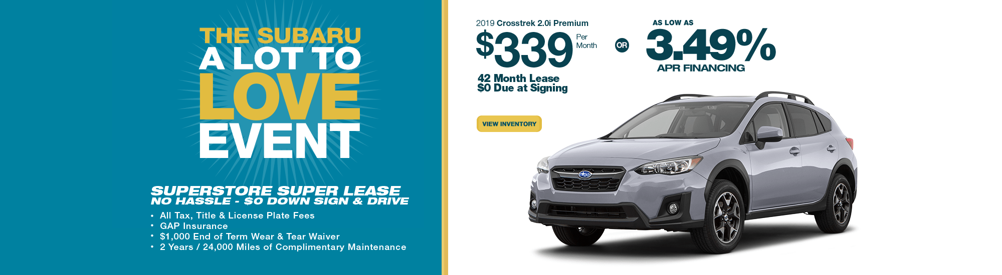 2019 Crosstrek Premium lease or finance special at Subaru Superstore of Chandler