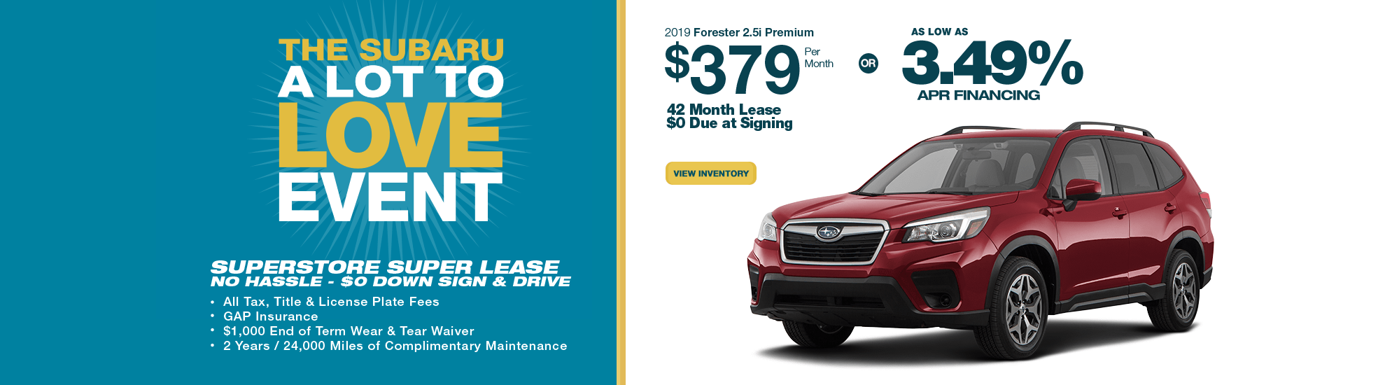 2019 Forester 2.5i Premium lease or low APR finance special at Subaru Superstore of Chandler