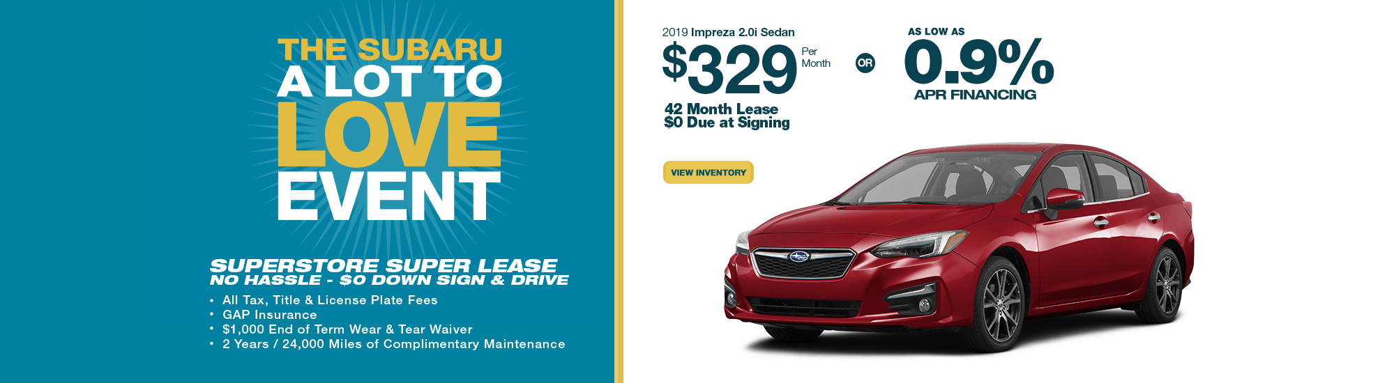 2019 Impreza 2.0i Sedan lease or finance special at Subaru Superstore of Chandler