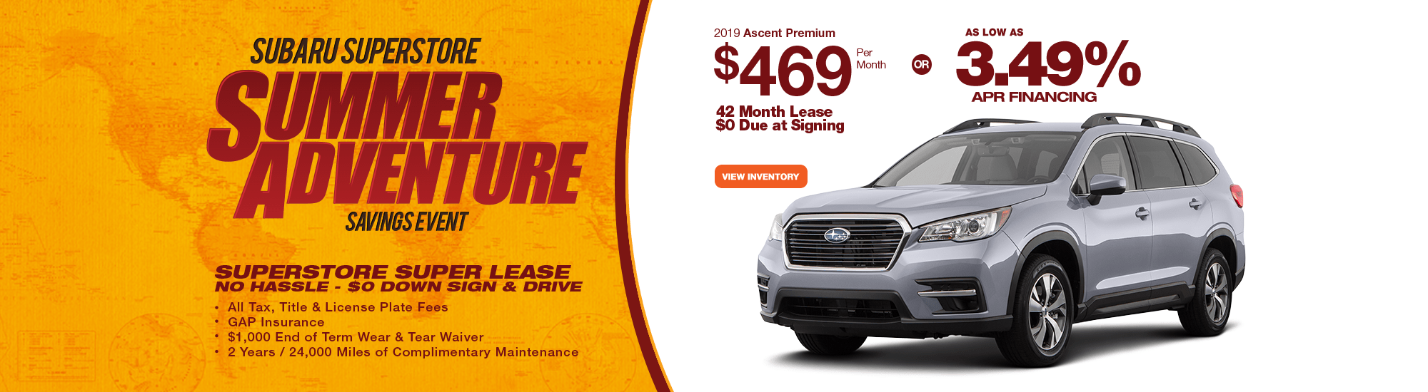 2019 Ascent Premium Lease or Finance Special at Subaru Superstore of Chandler