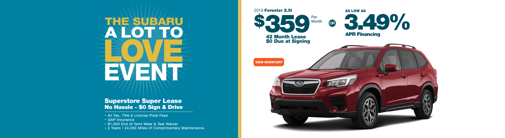 2019 Forester 2.5i Low Payment Lease or Finance Special at Subaru Superstore of Chandler