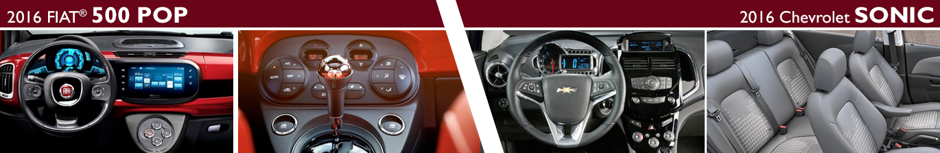 2016 FIAT 500 Pop vs 2016 Chevrolet Sonic LT Hatchback Interior Design