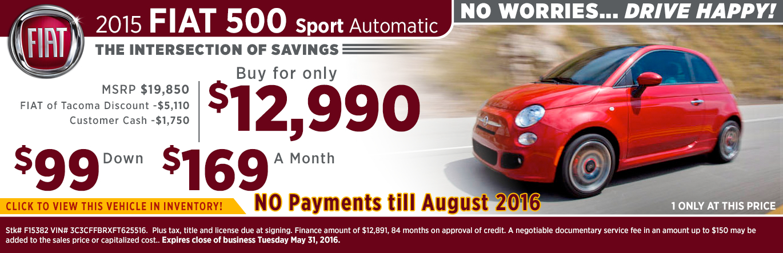2015 FIAT 500 Sport Special Sales Offers Serving Bellevue, WA