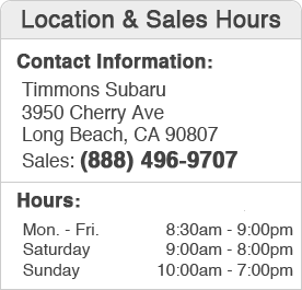 Timmons Subaru Sales Department Hours, Location, Contact Information