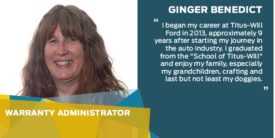 Ginger Benedict - Warranty Administrator at Titus-Will Ford