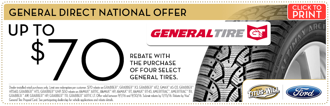 General Tire service special at Titus-Will Ford in Tacoma, WA