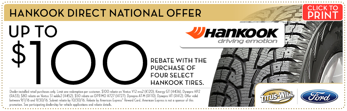 Hankook Tire Savings service special at Titus-Will Ford in Tacoma, WA