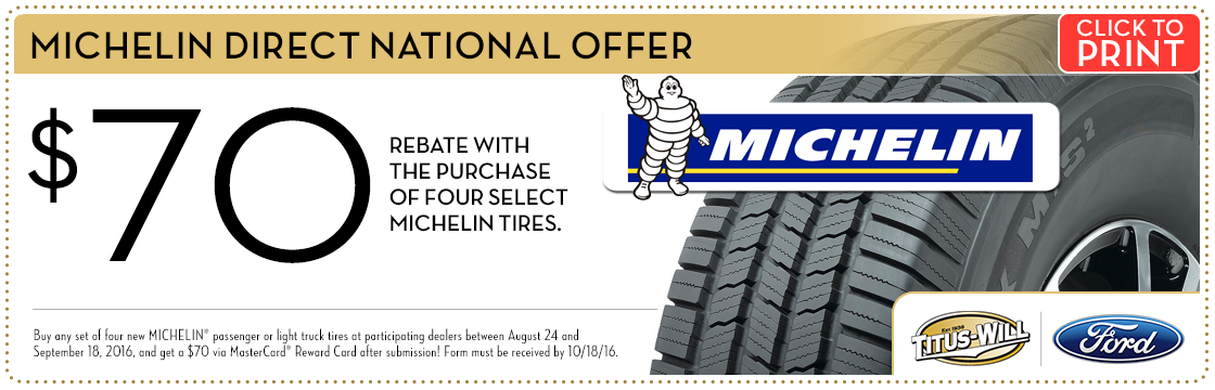Michelin Tires Savings service special at Titus-Will Ford in Tacoma, WA