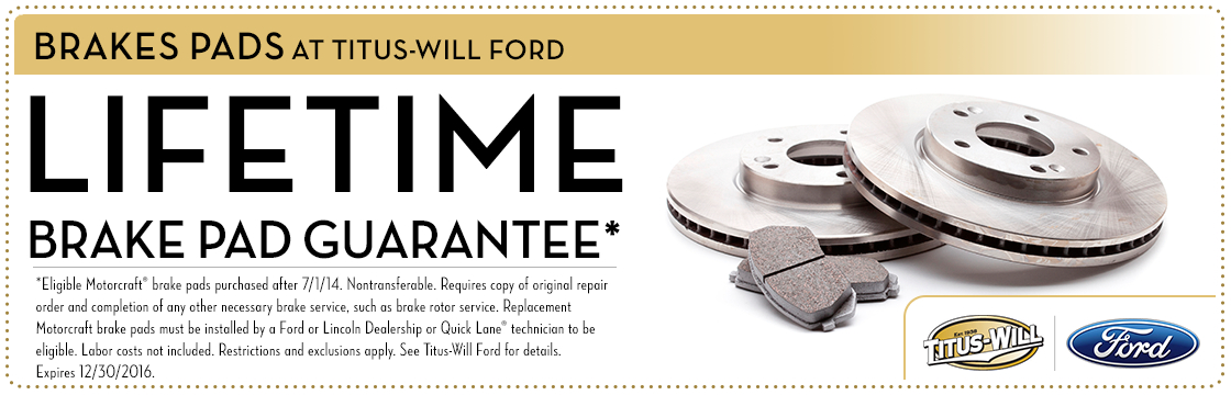 Lifetime Brake Pad Guarantee service special at Titus-Will Ford in Tacoma, WA