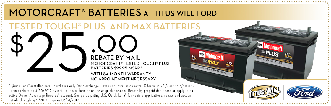 Ford Batteries with Rebates service special at Titus-Will Ford in Tacoma, WA